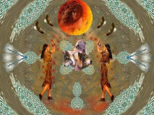 Native American art of Grandmother Moon sacred earth