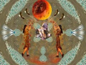 Native American art of Grandmother Moon sacred earth
